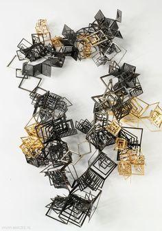 Alice Bo-Wen Chang (MFA) – necklace Bodyspace/bodyscape series 2011, silver, gold plated copper, copper – UK, Edinburgh College of Art