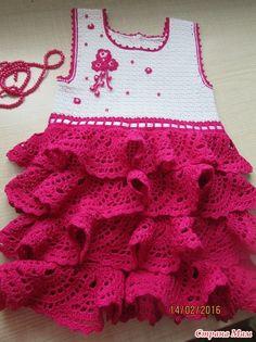Веселые воланчики, платье для девочки крючком