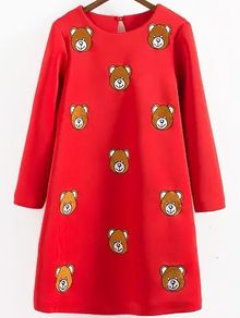 Bear Embroidered Straight Red Dress