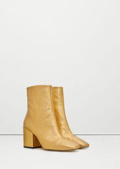 Metallic leather ankle boots -  Woman   MANGO United Kingdom