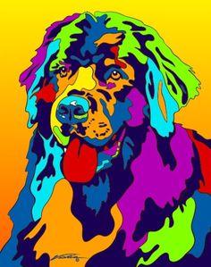 Multi-Color Newfoundland Dog Breed Matted Prints & Canvas Giclées