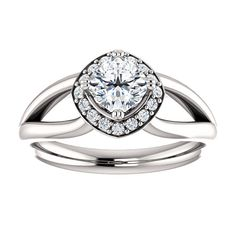 14kt White Gold 5mm Center Cushion Cubic Zirconia and 16 Halo Diamonds (Color I-J, Clarity I1) Engagement Ring...(ST122596:585:P).! Price: $499.99