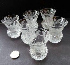 Set of Six Little Vintage 1950s EDINBURGH CRYSTAL THISTLE Etched. Miniature Tot or Toast Glasses