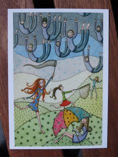 Postkarte: It's raining men