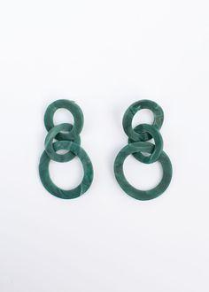 Triple Hoop Drop Earrings Acetate w/Metal Post for Pierced Ears Approx Length x Widest Width Imported Witch Jewelry, Jewelry Box, Jewelery, Jewelry Accessories, Jewelry Design, Bling Bling, Jade Green, Ring Bracelet, Ear Piercings