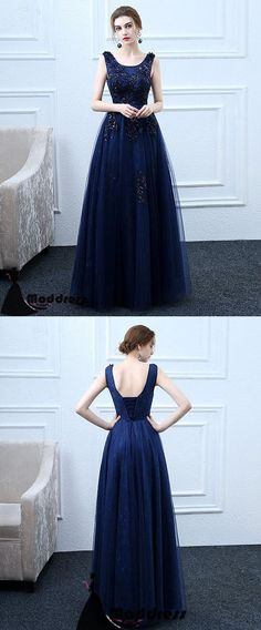 Applique Long Prom Dress Scoop A-Line Evening Dress Tulle Formal Dress,HS505 #fashion#promdress#eveningdress#promgowns#cocktaildress