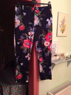 Joules Floral Navy Trousers - Size 12
