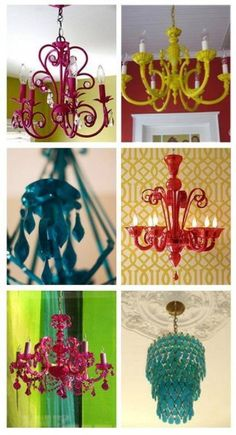 Um clássico moderno!  Um velho candelabro + tinta de spray colorida = um lustre exclusivo e inusitado.