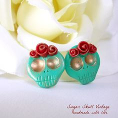 Turquoise Skull Earrings  Made to Order  by SugarSkuIIVintage