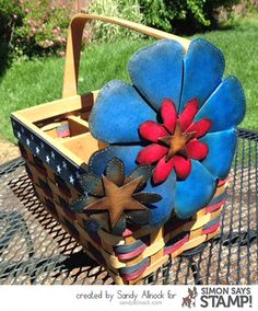 The Look of Leather Flower Punch Board, Fabric Crafts, Paper Crafts, Crafts To Make, Diy Crafts, Sandy Allnock, Simon Says Stamp Blog, 4th Of July Decorations, Faux Flowers