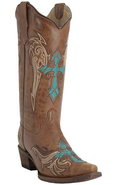 Corral Circle G Women's Honey Frontier with Turquoise & Brown Winged Cross Embroidery Snip Toe Western Boots