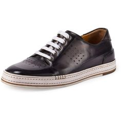 Berluti Playtime Perforated Leather Sneaker ($1,370) ❤ liked on Polyvore featuring men's fashion, men's shoes, men's sneakers, dark gray, berluti mens shoes, mens lace up shoes, mens perforated shoes, mens leather sneakers and mens leather shoes