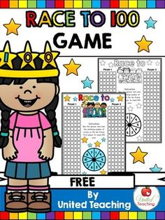 Play this fun and effective Race to 100 game and help children learn to count to 100. Perfect for the 100th day of school or as a math center any time during the year. Both color and blackline versions are included. Laminate the color version and have children use whiteboard markers to color the ten frames.