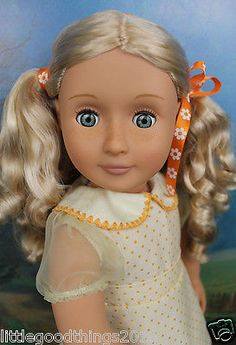 BATTAT-Our-Generation-18-Doll-Shine-Blonde-Hair-W-Freckles-Green-Eyes-Dressed
