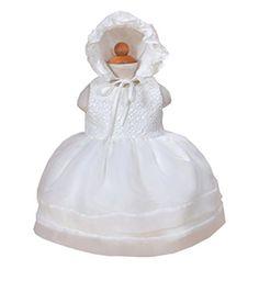 Robe de baptême avec bonnet bébé filles (12M, Ivoire)  Amazon.fr  Vêtements  et accessoires f68f542dde5