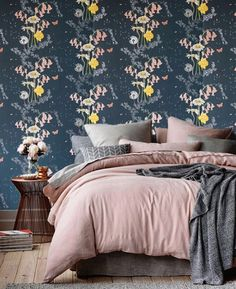 Loads of fun finding interiors inspiration on @pinterest – love our Secret Garden wallpaper in this bedroom. Follow our account @juliettraversltd to see more schemes, room ideas and colour palettes that inspire us. #flowers #wallpaper #bedroom #inspiration #design #luxury #home #interiordesign #detail