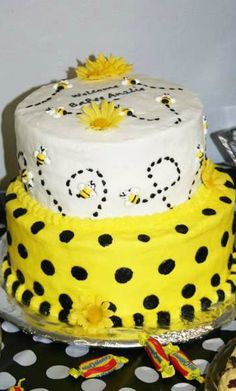 Bumble Bees Baby Shower Party cake!  See more party planning ideas at CatchMyParty.com!