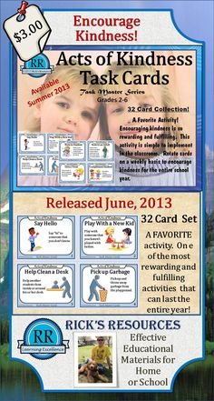http://www.teacherspayteachers.com/Product/Acts-of-Kindness-Social-Skills-32-Task-Cards-Grades-2-6-738305 One of my FAVORITE activities.  These Acts of Kindness Task Cards are a great way to promote kindness in the school.  The 32 cards can be rotated weekly to give students kindness goals that will last the entire school year.  Each card is numbered and has a kindness title, graphic, and description.  Also, an Acts of Kindness Tracking Form is included.