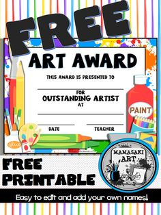 Art and music award certificates elementary schools certificate free art award printable yelopaper Choice Image