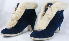 Vintage 1930's Blue Velvet Overshoes or galoshes trimmed with white rabbit fur.