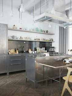 Take a look inside this artsy and chic Scandinavian apartment with beautiful furniture and cool stainless steel kitchen. Scandinavian Apartment, Scandinavian Kitchen, Scandinavian Style, Industrial Scandinavian, Industrial Kitchen Design, Interior Design Kitchen, Industrial Loft, Industrial Bedroom, Industrial Living