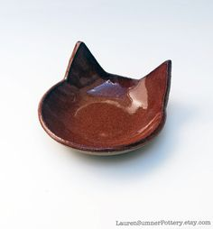 Cat Bowl, Red, Brown, Ceramic, Pottery - Handmade, Cat Food Bowl, Candy Dish, Jewelry Dish, Spoon Rest on Etsy, $22.00