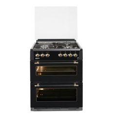 390€ cdisc Cuisinière 60x60 - Double four email lisse et convection naturelle - Grill électrique - Table 4 foyers mixte - Coloris Noir
