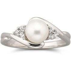 Cultured Freshwater Pearl Ring w/ White Sapphires ($30) found on Polyvore