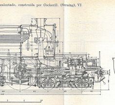 Locomotives Vintage Technical Drawing by CarambasVintage on Etsy, $20.00
