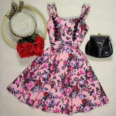Vestido Godê Floral Rose