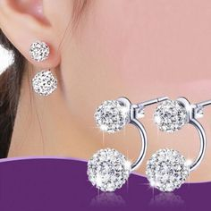 Cheap crystal ball earrings, Buy Quality ball earrings directly from China earrings for women Suppliers: 925 Sterling Silver Double Crystal Ball Earrings For Women Earrings Fashion Jewelry Pendientes Brincos sterling-silver-jewelry Cheap Earrings, Round Earrings, Women's Earrings, Fashion Earrings, Fashion Jewelry, Women Jewelry, Fashion Accessories, Rhinestone Earrings, Silver Earrings