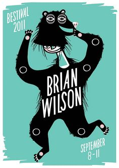 my first ever gig poster! you will be able to buy a screenprint of brian wilson in a bear suit at bestival!