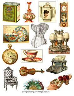 Digital Collage Sheet download Vintage Findings by GreatMusings, $2.50 #Etsy - grandma's attic