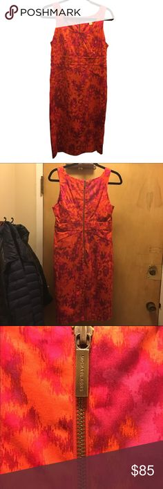 Michael Kors Shift Dress Bright pink and orange shift dress by Michael Kors. Gold zipper down the top of the back. Michael Kors Dresses