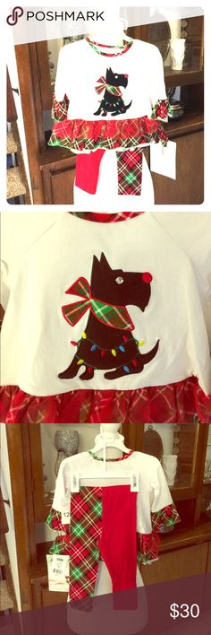 NWT Bonnie Jean Christmas Scottie Plaid Outfit!! NWT Bonnie Jean adorable little girl Christmas outfit!! The Scottie dog on the front is so cute and the pants are are one leg red and the other plaid!!! Very cute outfit with the the Xmas mix match!!! Bonnie Jean Other