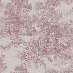 Toile De Jouy Wallpaper by Borastapeter Book Wallpaper, Fade Color, Vintage Textiles, Scene, Hand Painted, Antiques, Books, Inspiration, Home Decor