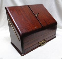 """Mahogany Paper/ Letter Holder w. Double Doors Drawer & Key/ Lock 12x15"""" ANTIQUE"""