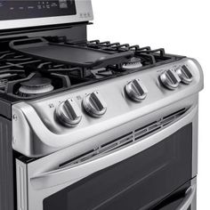 double oven gas range with probake convection oven in stainless steel silver
