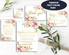 Printable Floral Wedding Invitation Suite Watercolor Flowers