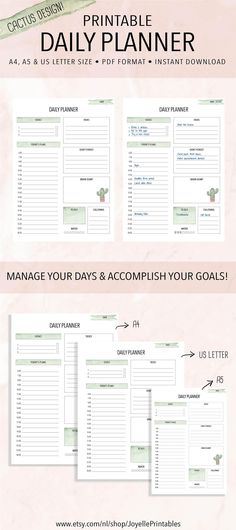 Printable Daily Planner, Work Planner. This planner will help you organize your days and accomplish your goals! https://www.etsy.com/shop/JoyellePrintables