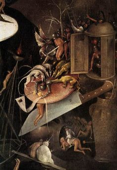 Triptych of Garden of Earthly Delights (right panel, detail), 1505 Hieronymus Bosch. Hieronymus Bosch, Jan Van Eyck, Medieval Art, Renaissance Art, Robert Campin, Arte Tribal, Garden Of Earthly Delights, Macabre Art, Max Ernst