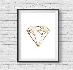 Gold Diamond Print Gold Diamond Art Gold Diamond by PrintAvenue