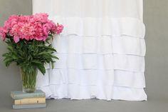 panel de cortina de lino con volantes / panel con por solinen