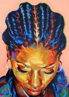 Gorgeous braids highlighted with bright blue. Beautiful African-American art…
