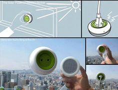 It is really simple. The portable socket attaches to a window like a leech to human skin. On its underside, it has solar panels: The solar panels suck energy from the sun. The charger converts that energy into electricity. You plug in to the charger.