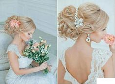 Both elegant options for a bride hairdo. Wedding Hair And Makeup, Wedding Updo, Hair Makeup, Latest Hairstyles, Cute Hairstyles, Wedding Hairstyles, Plan My Wedding, Wedding Planning, Hair Care