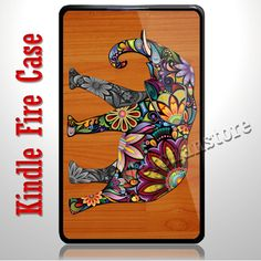 Floral Elephant on Wood Kindle Fire Case