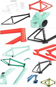 COLONY UTOPIA Frame shown in several colors and includes a diagram of frame tube lengths and angles. Bmx, 20 Inch Bicycle, Bicycles, Angles, Tube, Diagram, Colors, Frame, Projects