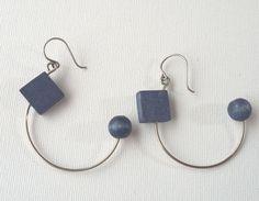 Aarikka Finland Vintage Earrings Blue Wood Dangle Retro1980s #Aarikka