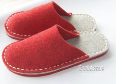 Felt Slippers – Simple Eco Friendly Wool – Many sizes and colours by Joe's Toes – ships worldwide My simple eco friendly slippers are completely hand-sewn in Yorkshire, England. Using woollen felt and strong merino yarn. I offer many variations on Sewing Slippers, Red Slippers, Felted Slippers Pattern, Ladies Slippers, Felt Shoes, Shoe Pattern, Red Felt, Felt Crafts, Hand Stitching